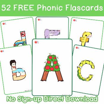 52 FREE Phonic Flashcards - no sign up Needed Completely free, you don't even need to sign up...jus