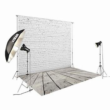 8'x12' White Brick Wall with Gray Wooden Floor Photography