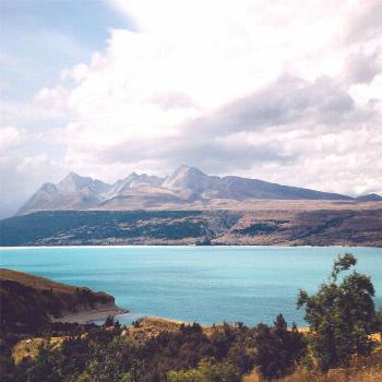 A bright turquoise lake to the left,vibrant lavender fields to the right.driving on... -
