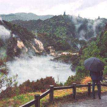 Admiring the worlds youngest geothermal system (hier: Waimangu Volcanic Valley) -