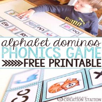 Alphabet dominos is a great phonics game to teach beginning reading to your preschoolers and kinder