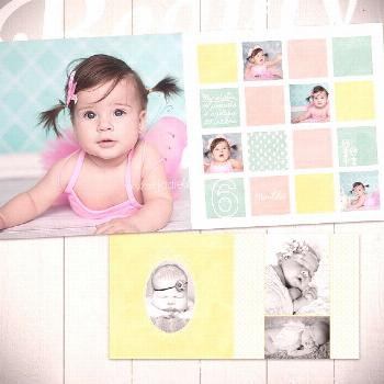 Baby Album Template: Watch Me Grow  - First Year Book Template for Photographers 10x10  -