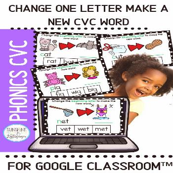 Change One Letter Make a New Word CVC for Use with Google Classroom™ CVC words are so important f