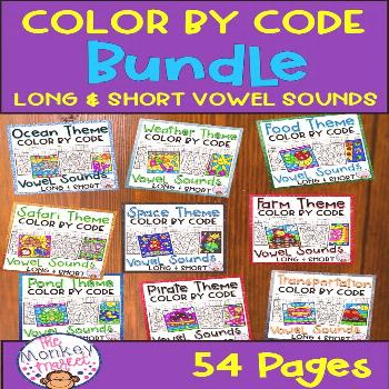 Color By Code Vowel Sounds This Color By Code Bundle includes 54 worksheets that are great for stud