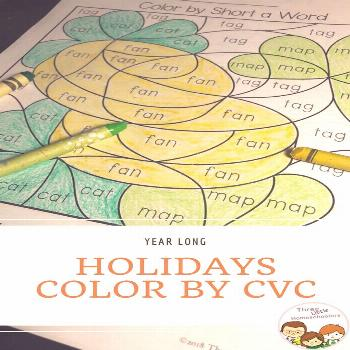Color by CVC Word puzzles for 12 holidays: New Years Eve, Martin Luther King Jr. Day, Groundhog Day