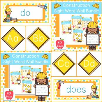 Construction - Sight Word Wall Bundle This bundle features all 300 of Fry's sight words! 183 pages
