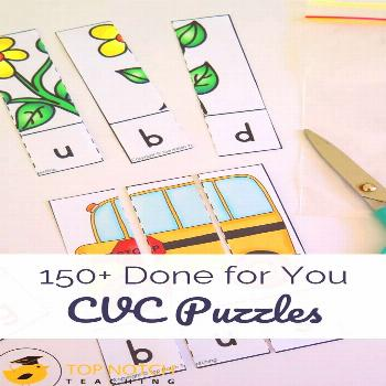 CVC Puzzles and Word Building Worksheets Phonics lessons just got a lot easier with these DONE FOR