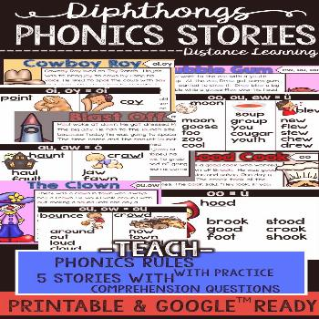 Diphthongs Phonics Stories for Distance Learning This is includes 5 stories to teach diphthongs in