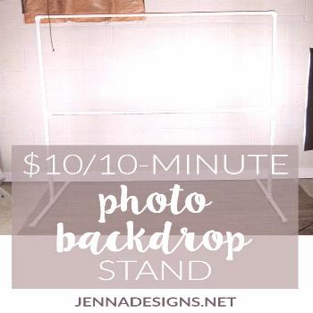 DIY: Photo backdrop stand, $10 and 10 minutes | Jennadesigns