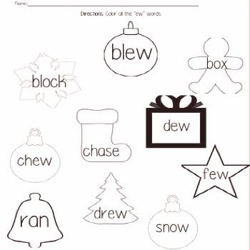 -EW Holiday Themed Worksheet Say -ew for the with this packet.