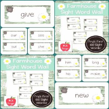 Farmhouse - Sight Word Wall Fry's First 100 Words My Farmhouse sight word wall posters feature Fry'