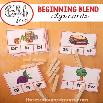 Free clip cards for beginning blends - The Measured Mom Print these fun beginning blend clip cards