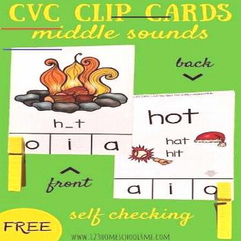 FREE CVC Words Middle Sounds Clip Cards - Middle Sounds. These are such a fun way for prek, kinderg