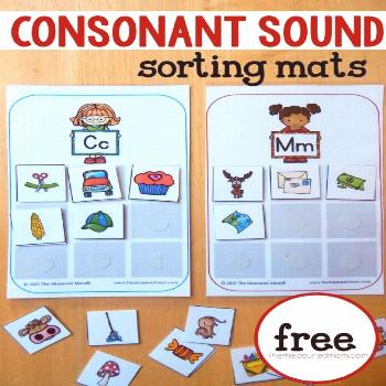 Free sorting mats for learning consonant sounds - The Measured Mom Teach beginning consonant sounds