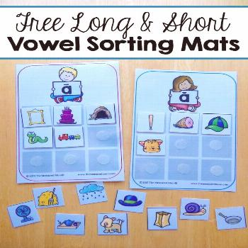 Free sorting mats for short and long vowels - The Measured Mom This free printable vowel activity i