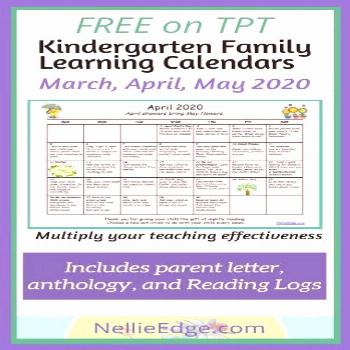 FREE Spring 2020 Family Calendars. Support kindergarten LEARNING AT HOME. Honor family life with me