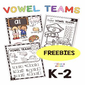 FREE Vowel Teams Activities and worksheets &; kindergarten first grade second grade phonics lessons