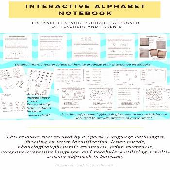 Interactive Alphabet Notebook   Language and Literacy - SLP This resource was created by a Speech-L