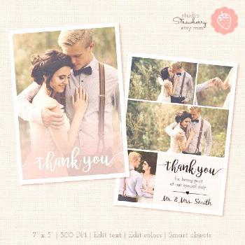 Items similar to thank you card template, thank you printable, photography templates, photoshop tem