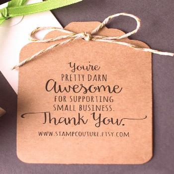 Items similar to Thank You Stamp with Website Address for Small Business - Custom , Business Card S