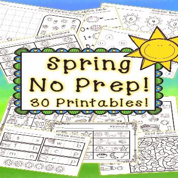 Kindergarten Spring Activities - Math and Literacy - NO PREP Celebrate spring with these 80 No Prep