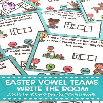 Long Vowel Teams Write the Room Activity Spring Bunny & Eggs Let's Write the Room with long vowel t
