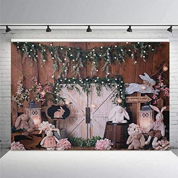 MEHOFOND Easter Spring Bunny Photography Backdrop Props