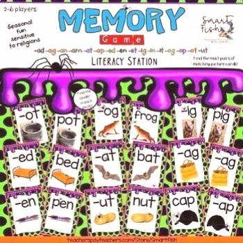 Memory (Silly Spiders) Card Game: Word Families, Phonics, Reading w/ Real Photos Memory (Silly Spid