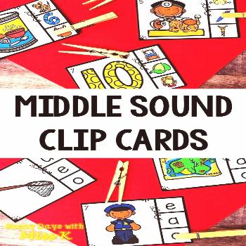 Middle Sound Clip Cards - Vowel Sound Activity This Middle Sound Center includes 2 sets of middle s