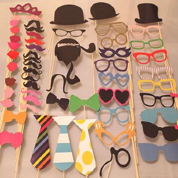 New 58pcs masks photo booth props mustache on halloween/ a stick birthday wedding party diy