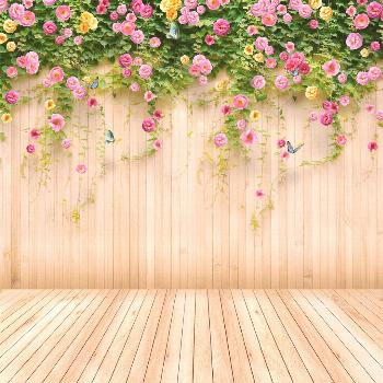 Pale Yellow Flowers Butterfly Wood Wall Photography Backdrops   Etsy