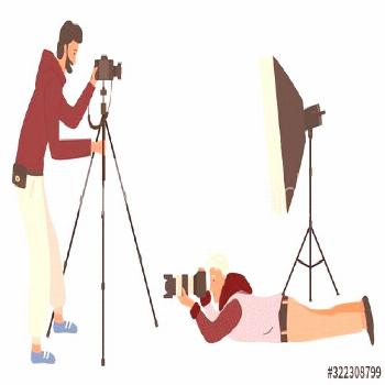 Photographers with equipment for taking photos vector, man with camera laying on floor. Stand for l