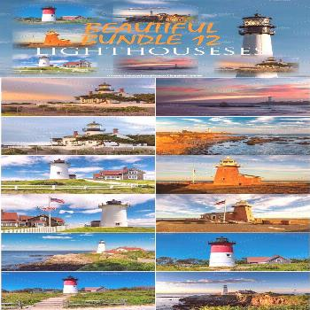 Premium Lighthouses Bundle 12 Beautiful lighthouses from West and East American coast in different