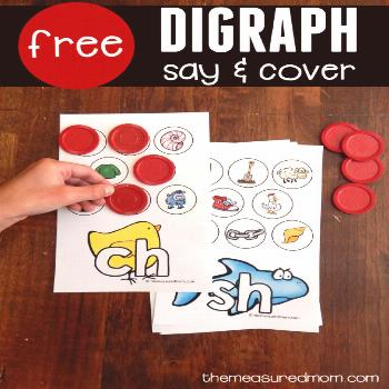 Print this freebie for teaching digraphs in kindergarten! Kids say each picture's name and cover it