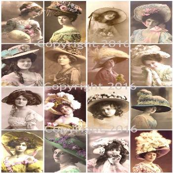 Printed Vintage Victorian Easter Bonnets Photos Collage Sheet    8.5 x 11 Printed Sheet