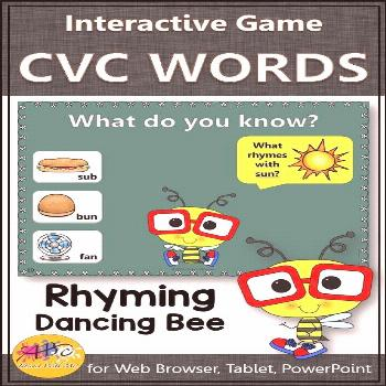 Rhyming CVC Words Interactive Rhyming Game {Dancing Bee} Fun rhyming game! Perfect CVC game and act