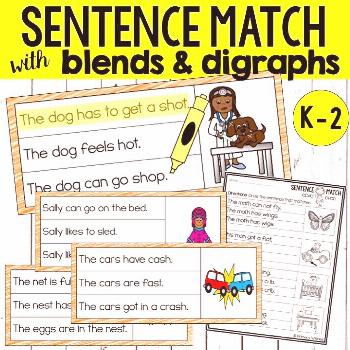 Sentence Match with Blends and Digraphs Students practice decoding and monitoring for meaning as th
