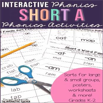 Short a Word Work Activities - Sorts, Worksheets & Poems Interactive Phonics and Work Work-short a