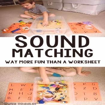 Sound Matching Bin: An Easy Phonics Activity - Busy Toddler - education -