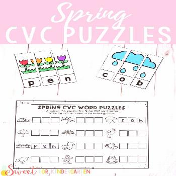 Spring CVC Word Puzzles Looking for a fun Kindergarten Spring activity? This literacy center focuse