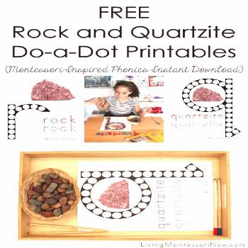 These free rock and quartzite do-dot printables are Montessori-inspired printables for home or clas