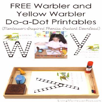 These free warbler and yellow warbler do-dot printables are Montessori-inspired printables for home