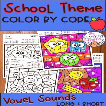 Vowel Sounds Color By Code: School Theme Do you need a fun way for students to practice their vowel