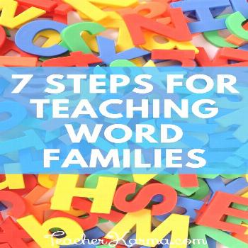 Word Families: 7 Easy Steps for Teaching Reading — Teacher KARMA How to teach word families. Begi