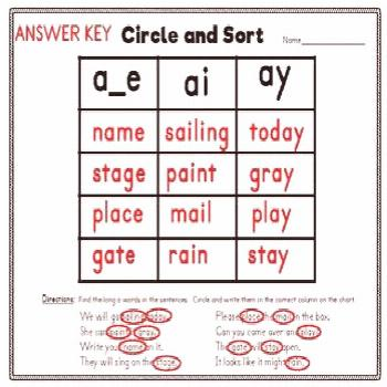 Word Sorts for Long Vowel Words in Sentences Packet for Distance Learning Word sorting is a great a