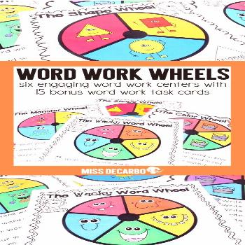 Word Work Wheels These Word Work Wheels are super easy to prep - just add crayons and a paperclip!