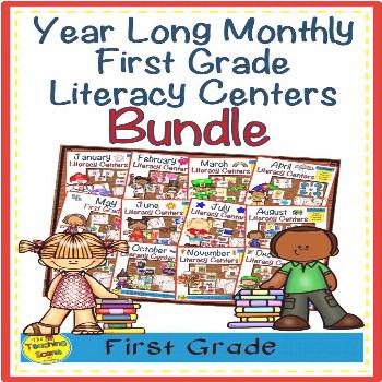 Year-Long Monthly Themed First Grade Literacy Bundle Do you need some literacy centers for your Fir