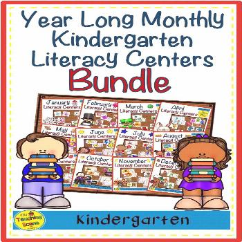 Year-Long Monthly Themed Kindergarten Literacy Centers Bundle Do you need some literacy centers for