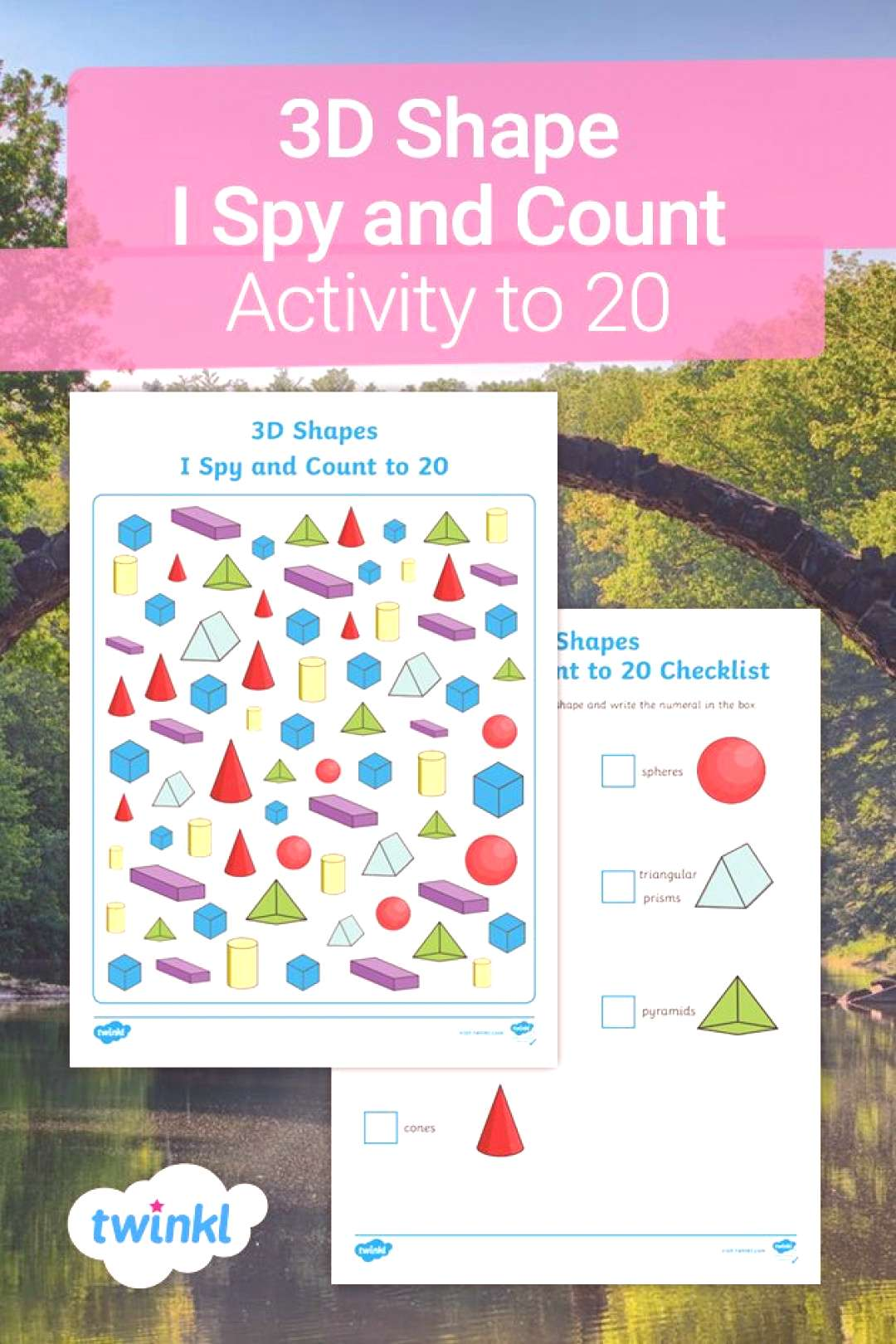 3D Shape I Spy and Count Activity to 20! This engaging 3D Shape I Spy and Count Activity is great