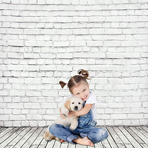 5x7ft White Brick Wall with Gray Wooden Floor Photography
